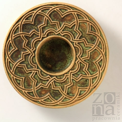 geometryczny śr.12,5cm zielono-brązowy